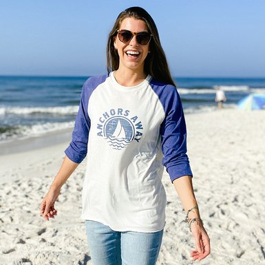 122091 30a anchors away baseball tee women cream navy