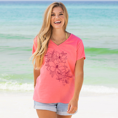 125591 30a floral v neck tee women melon